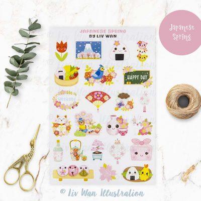 Japanese Spring Sticker Sheet