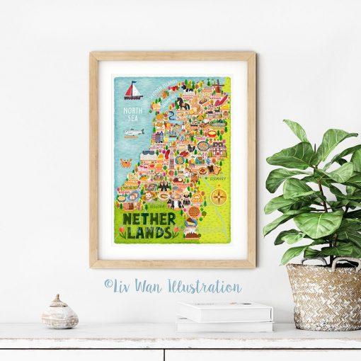 Netherlands Map Poster