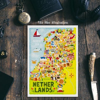 Netherlands Food Map Postcard
