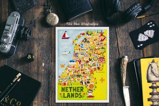 Netherlands Food Map Postcard