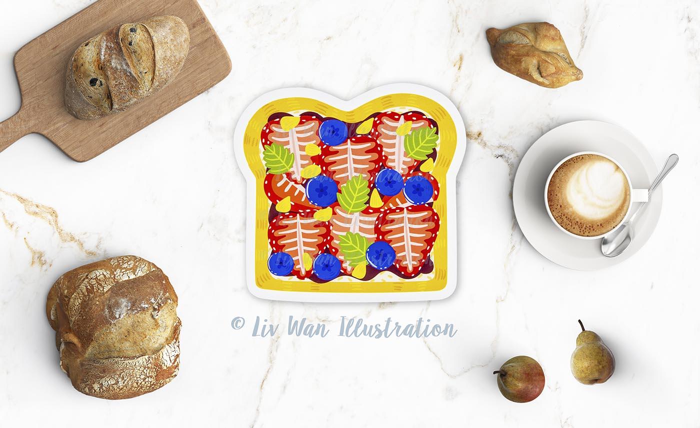 Strawberry Toast Postcard