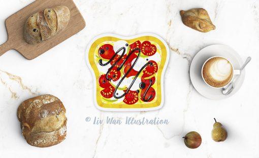 Tomato Toast Postcard