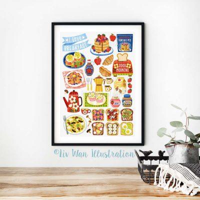 I love Breakfast Food Poster