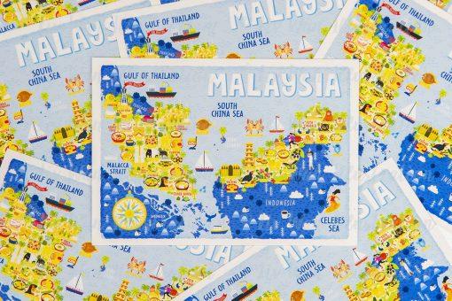 Malaysia Map Postcard