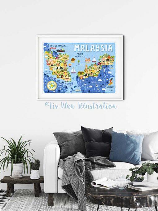 Malaysia Map Poster