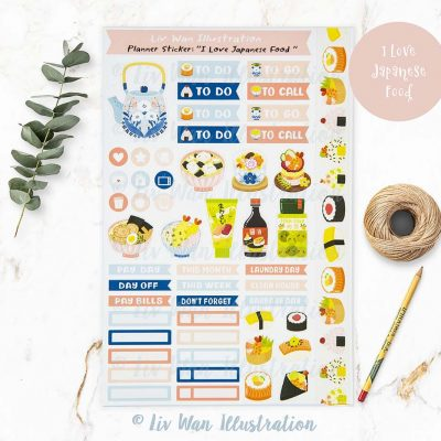I Love Japanese Food Planner Stickers