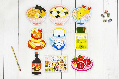 Japanese Food Sticker Postcard Collection