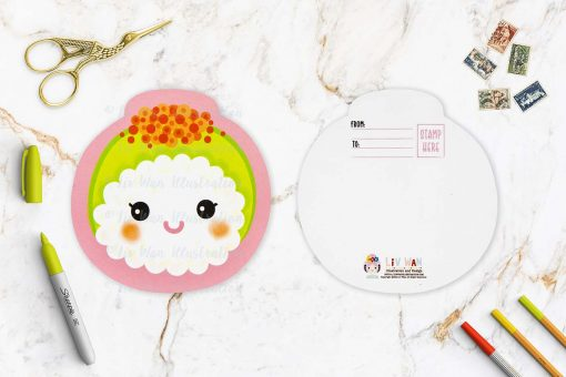 Avocado Sushi Shaped Postcard
