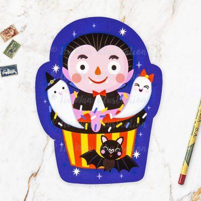 Dracula Cupcake Halloween Postcard