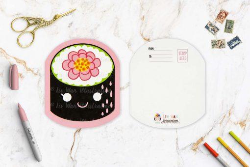 Flower Maki Sushi Shaped Postcard
