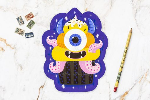 Monster Cupcake Halloween Postcard