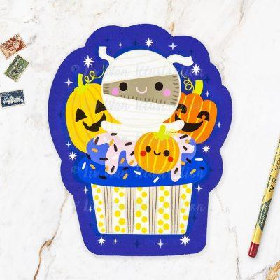 Mummy Cupcake Halloween Postcard