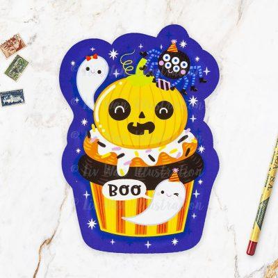 Pumpkin Head Cupcake Halloween Postcard