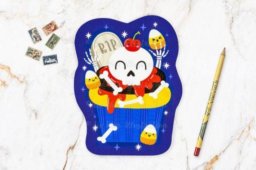 Skeleton Cupcake Halloween Postcard