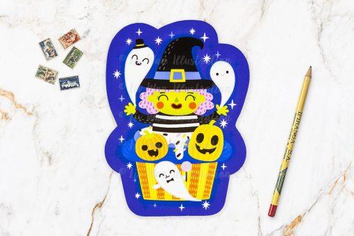 Witch Cupcake Halloween Postcard