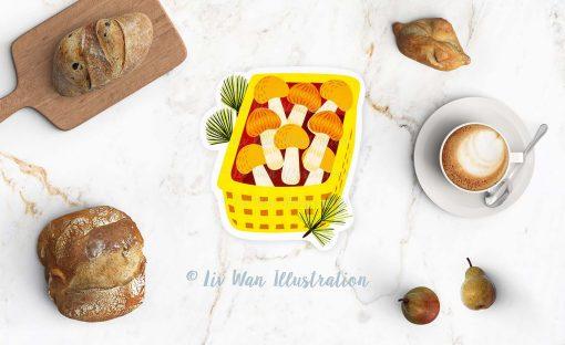 Mushroom Basket Postcard