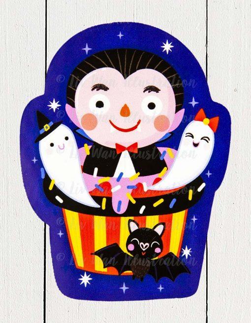 Dracula Cupcake Sticker