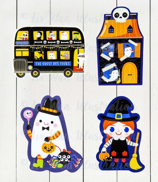 halloween cut out postcards