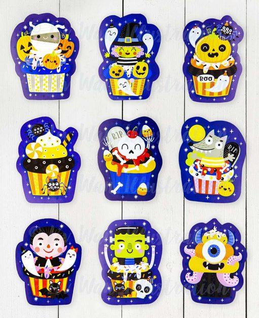 halloween cupcake sticker collection