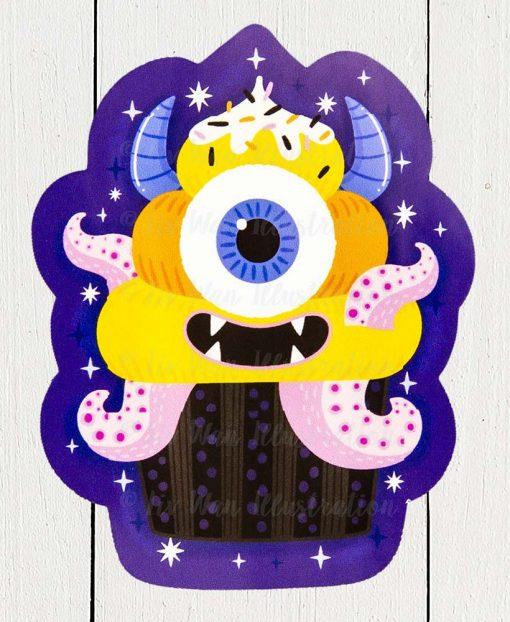 Monster Cupcake Sticker
