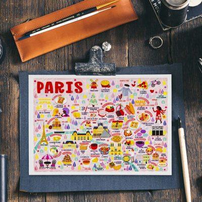 Paris Map Postcard