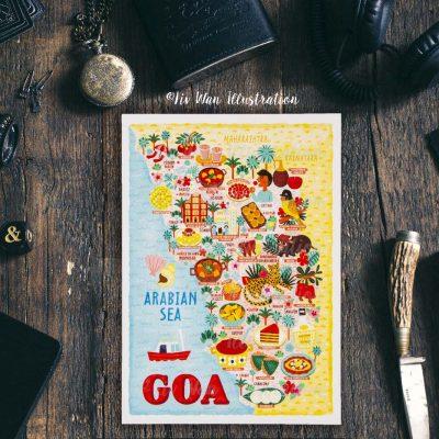 Goa Map Postcard